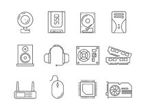 Componentes do PC do hardware Símbolos da linha ícones do vetor de ram do ssd do servidor do processador dos artigos do computado ilustração do vetor