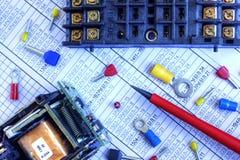 Componentes eléctricos Imágenes de archivo libres de regalías