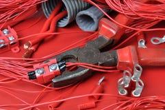 Componentes eléctricos y herramientas Imágenes de archivo libres de regalías