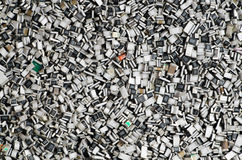 Componentes electrónicos en bulto Textura de los resistores del microprocesador Fotos de archivo libres de regalías