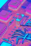 Componentes electrónicos en un fondo del tablero del circuito impreso Imágenes de archivo libres de regalías