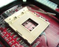 Componentes en la placa madre foto de archivo