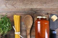 Componentes italianos de la comida Fotos de archivo libres de regalías