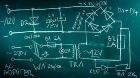 Componentes retros da eletrônica no laboratório de física fotos de stock