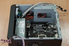 Componentes y caja para el montaje de computadora personal Fotografía de archivo