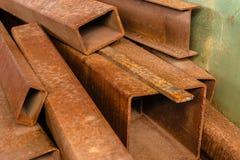 Componenti della barra d'acciaio in una costruzione Immagini Stock Libere da Diritti