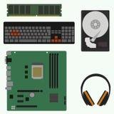 Componenti di computer piane delle icone nel formato di vettore Immagine Stock Libera da Diritti