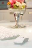 Componenti di un con computer personale: mouse, tastiera Fotografia Stock