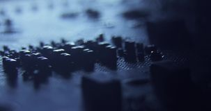 Slider dollymacro shots of the surface of computer hardware parts chips,motherboard,cpu,curcuits 4K close up macro. The components of the computer. The camera stock footage