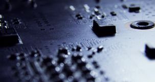 Slider dollymacro shots of the surface of computer hardware parts chips,motherboard,cpu,curcuits 4K close up macro stock video