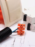 Components for electrical installations and construction diagrams royalty free stock photos