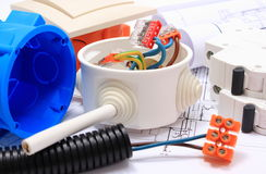 Components for electrical installations and construction diagrams Stock Image