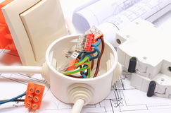 Components for electrical installations and construction diagrams. Components for use in installations and electrical diagrams, copper wire connections in stock images