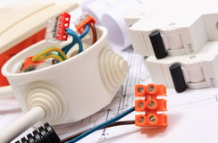 Components for electrical installations and construction diagrams stock images