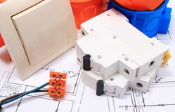 Components for electrical installations and diagrams stock photography