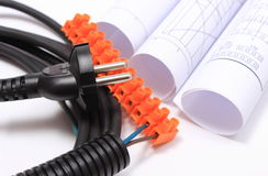 Components for electrical installations and rolls of diagrams Royalty Free Stock Images