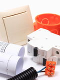 Components for electrical installations and rolls of diagrams Stock Images