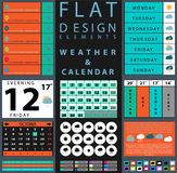 Components featuring design weather and calendar Royalty Free Stock Photography