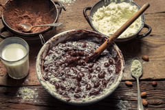 Components on the homemade chocolate with nuts stock image