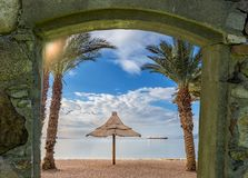Sandy beach of Eilat - famous resort and recreation city in Israel. Components for this image have been taken from my own photos Stock Image