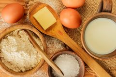 Components for making bread at home. The food composition. Low carbohydrate foods. Components for making bread at home. The food composition stock photos
