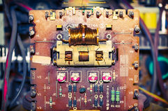 Components old electronic board Stock Image