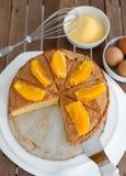 Orangecake. Components of the Orange Cake, apricot, baking, stand, color, dessert, fruit, horizontal, illuminated, image, indoors, luminosity, nobody, studio royalty free stock photo