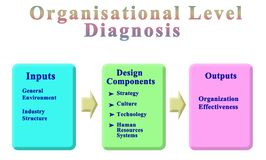 Components of Organisational Level Diagnosis. Eight Components of Organisational Level Diagnosis stock illustration