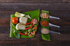 Components papaya salad. This usually means the leaf, stem, or root of a plant Royalty Free Stock Images