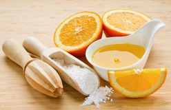 Components for preparation sugar orange syrup Stock Photos