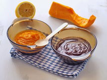 Components for pumpkin brownies. Cooking process. Preparing pumpkin pie with chocolate. Components for pumpkin brownies. Pumpkin puree, lemon and chocolate Royalty Free Stock Image