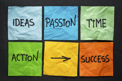 Components of success concept on sticky notes Stock Images