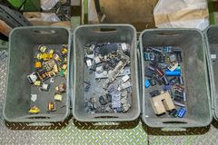 Components of various electronic devices waiting to be recycled on a recycling plant site. Sorted electronic garbage.  royalty free stock photography