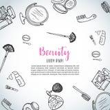 Componga el fondo dibujado mano Artículos de la belleza del garabato Colección de cepillos, esmaltes de uñas, lápices labiales stock de ilustración