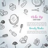 Componga el fondo dibujado mano Artículos de la belleza del garabato Colección de cepillos, esmaltes de uñas, lápices labiales ilustración del vector