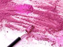 Componga el fondo y el cosmético del polvo para ruborizarse herramienta Imágenes de archivo libres de regalías