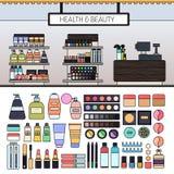Componga il deposito con i cosmetici sugli scaffali Immagine Stock Libera da Diritti
