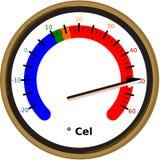 Componga intorno al termometro della scala che mostra l'illustrazione calda estrema di vettore dell'onda termica dell'estate ad a illustrazione vettoriale