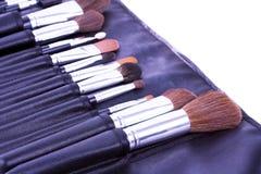 Componga le spazzole nel caso di cuoio Immagini Stock Libere da Diritti
