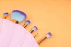 Componga los cepillos aisló el fondo en colores pastel Fotos de archivo libres de regalías