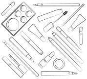 Componga los cosméticos Ilustración del vector Estilo plano Imagen de archivo