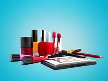 Componga los cosméticos para la muchacha 3d para rendir en fondo azul con la sombra ilustración del vector