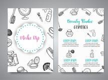 Componga los folletos dibujados mano Garabatee la colección de los carteles de la belleza de cepillos, esmaltes de uñas, lápices  libre illustration