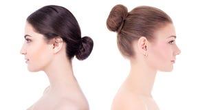 Componga y el concepto del cuidado de piel - vista lateral del ingenio hermoso de las mujeres fotografía de archivo