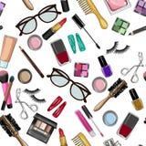 Componga y modelo inconsútil de los artículos de la belleza Fotografía de archivo libre de regalías
