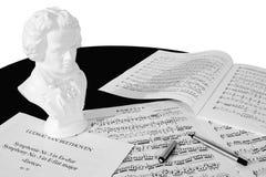 Componist aan (het Zwart-witte) Werk Stock Afbeelding