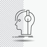 componist, hoofdtelefoons, musicus, producent, correct Lijnpictogram op Transparante Achtergrond Zwarte pictogram vectorillustrat royalty-vrije illustratie