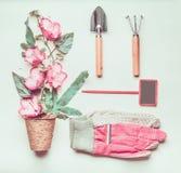 Comporre di giardinaggio con il segno, strumenti, dentella i guanti, i fiori rosa ed i vasi della pianta, pala a fondo verde chia fotografia stock libera da diritti