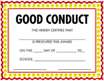 Comportamento del certificato del premio buon illustrazione vettoriale