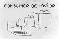 Comportamento del consumatore sul web (illustrazione delle borse che escono Fotografie Stock Libere da Diritti